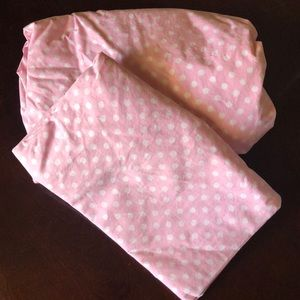 Pottery barn kids pink with white dot twin bedding
